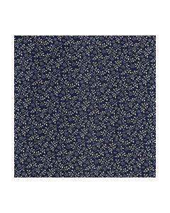 John Louden 100% Cotton Poplin Small Tone on Tone Leaf Designs - Navy