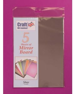 Craft UK 5 Sheets Mirror Board - Silver