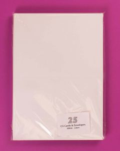 Craft UK C5 White Linen Card and Envelopes - pack of 25