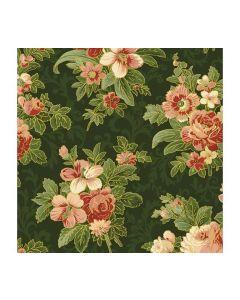 Washington Street Christmas Memories Metallic Floral - Green