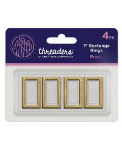 """Threaders 1"""" Rectangle Rings - Brass (4PK)"""