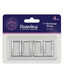 """Threaders 1"""" Rectangle Rings - Silver (4PK)"""