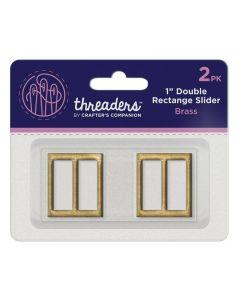 """Threaders 1"""" Double Rectangle Slider - Brass (2pk)"""