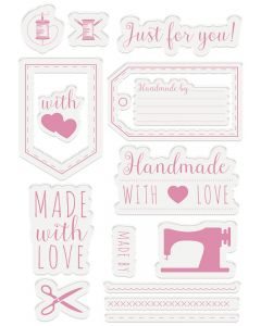 Sara Signature Sew Homemade Clear Acrylic Stamp Set - Homemade with Love