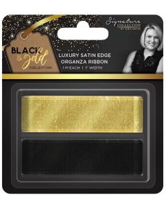 "Sara Signature Black and Gold Collection - Satin Edge Organza Ribbon 1"" (2pk)"