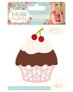 Sara Signature Vintage Tea Party - Metal Die - Cherry Cupcake