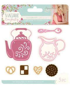 Sara Signature Vintage Tea Party Collection Metal Die - Tea & Biscuits