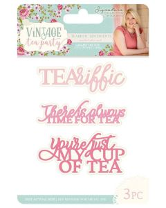 Sara Signature Vintage Tea Party Collection Metal Die - Teariffic Sentiments