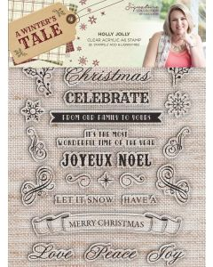 Sara Signature A Winter's Tale A6 Clear Acrylic Stamp - Holly Jolly