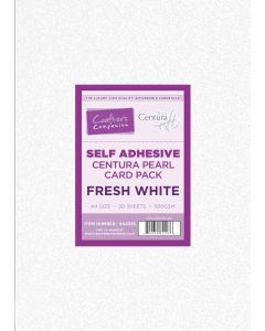 Crafter's Companion Centura Pearl Fresh White Self Adhesive A4 Card Stock 20 Sheets