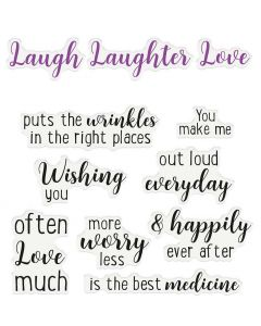 Crafter's Companion Sentiment and Verses Clear Stamps - Love, Laugh, Laughter
