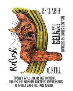 Sheena Douglass A Little Bit Sketchy A6 Rubber Stamp - Cat Nap