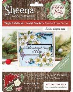 Sheena Douglass Perfect Partners Deck the Halls Metal Die - Festive Rose Corner