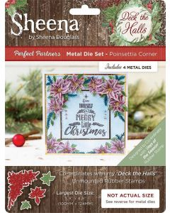 Sheena Douglass Perfect Partners Deck the Halls Metal Die - Poinsettia Corner