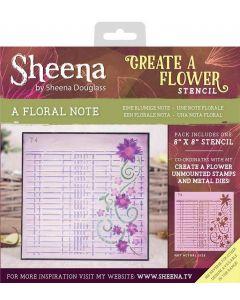 "Sheena Douglass Create a Flower 8"" x 8"" Stencil - A Floral Note"