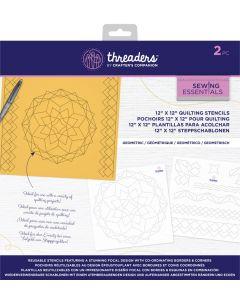 "Threaders 12"" x 12"" Quilting Stencils - Geometric"