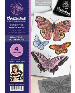 Threaders A5 Rubber Stamp Set - Beautiful Butterflies