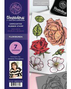 Threaders A5 Rubber Stamp Set - Floribunda