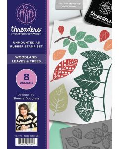 Threaders A5 Rubber Stamp - Woodland Leaves and Trees