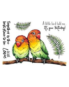 Crafter's Companion A6 Rubber Stamp - Tropical Lovebirds
